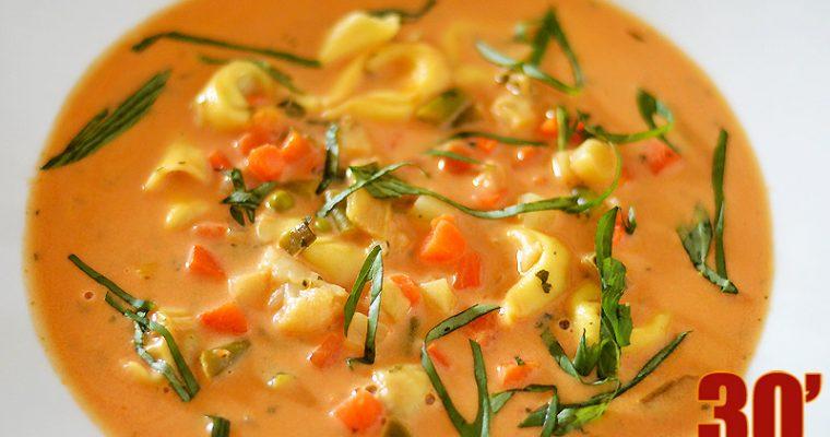 Soupe aux légumes et tortellinis