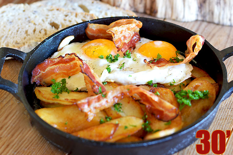 Poêlée de pommes de terre au lard
