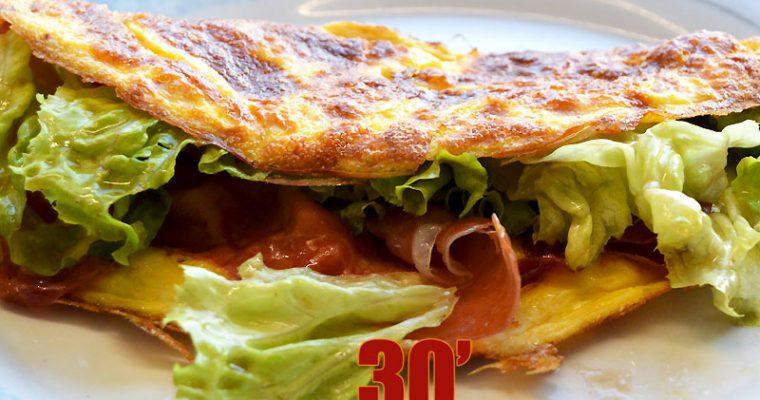 Omelette jambon salade