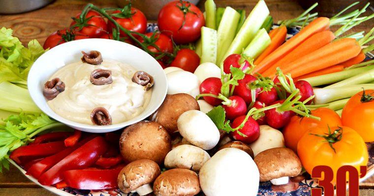 Légumes crus en anchoïade