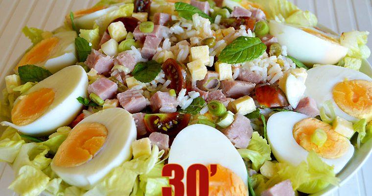 Salade de riz au cheddar et jambon